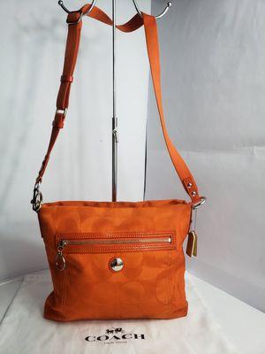 Authentic Coach large C Canvas Orange Crossbody Bag PRICE FIRM 🚫 for Sale in San Antonio, TX