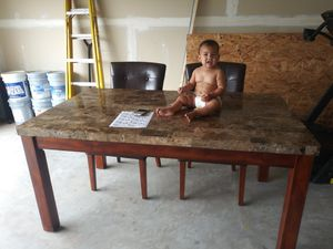 Dining table with 2 leather chairs for Sale in Ashburn, VA