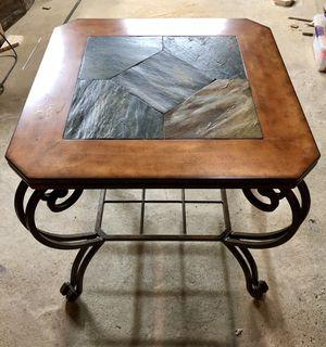 Wood and slate end tables (set) for Sale in LAUREL PARK, WV