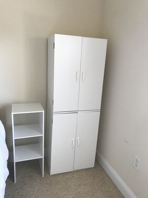 White storage cabinet w/ nightstand for Sale in Saint Petersburg, FL