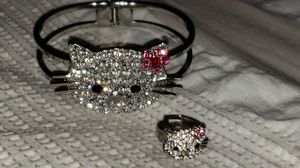 HELLO KITTY SWAROVSKI CRYSTAL BANGLE BRACELET AND ADJUSTABLE RING for Sale in Rockwall, TX