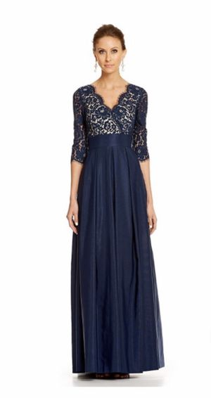 Eliza J Navy/Lace empire waist gown formal dress - size 12 for Sale in Nashville, TN