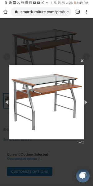 Flash Furniture Glass Computer Desk with Pull-Out Keyboard Tray and Bowed Front Frame $75 for Sale in Columbus, OH