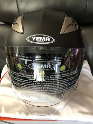 YEMA YM-627 Motorbike Moped Jet Bobber Pilot Crash Chopper 3/4 Half Helmet with Sun Visor for Adult Men Women - Matte Black,XL for Sale in Los Angeles, CA
