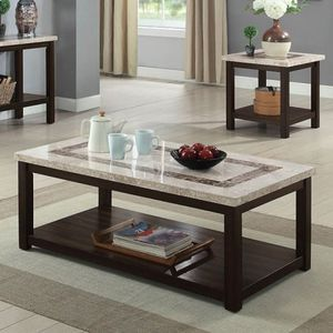 Dark Walnut Genuine Marble Coffee Table for Sale in Fresno, CA