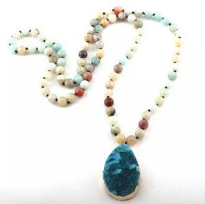 Bohemian Amazonite Natural Druzy Drop Necklace for Sale in Wichita, KS