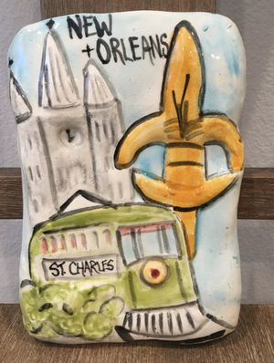 Handmade 1 of a kind New Orleans Ceramic Wall Art NOLA Louisiana Fleur de Lis for Sale in Escondido, CA