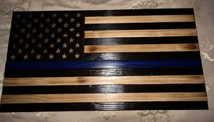 Wooden Thin Blue line America n Flag. Handmade for Sale in San Diego, CA