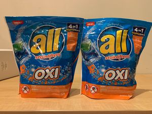 All Oxi laundry detergent pods 19 count: 2 for $5 for Sale in Alexandria, VA
