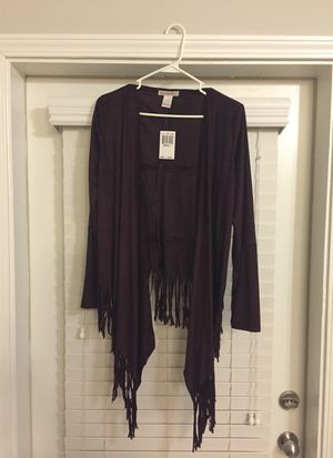 NWT Women's Burgundy fringe cardigan size Small for Sale in Tampa, FL