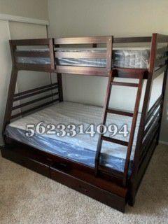 Twin/full Expreso bunkbed w Mattress Included for Sale in Kerman, CA