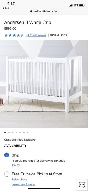 Land of Nod (Crate and Barrel) White Crib for Sale in Virginia Beach, VA