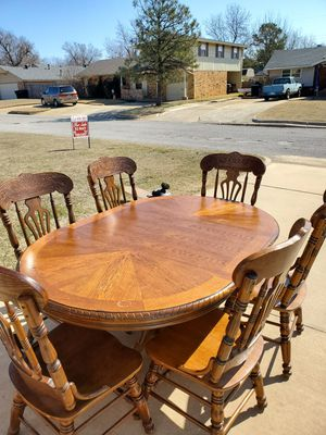 Dining room table and chairs, solid wood for Sale in Oklahoma City, OK