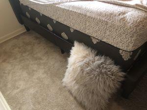 Full Dark Brown Padded BedFrame + Box Spring for Sale in Washington, DC