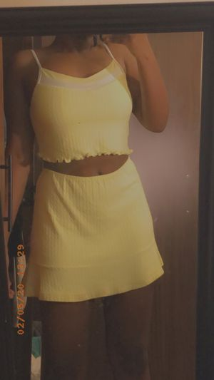 FOR SALE: 💛Wimbledon pastel yellow two piece Tennis set (Top & skirt)💛 for Sale in Denton, TX