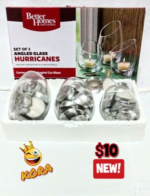 NEW Better Homes & Gardens Tealight Holders Angled Hurricanes ~ Set of 3 for Sale in Salt Lake City, UT