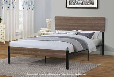 Full Metal Bed Frame with Wooden Headboard for Sale in Huntington Beach,  CA