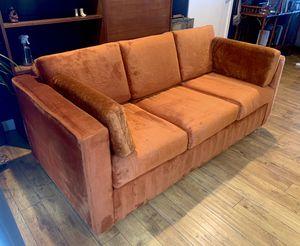 Super rad 70s vintage burnt orange velour sofa bed pull out couch for Sale in Las Vegas, NV