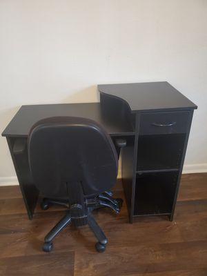 Black Desk With Chair for Sale in Marietta, GA
