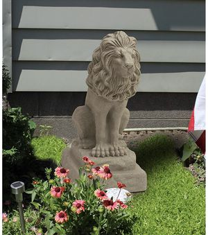 Guardian Lion Statue – Natural Sandstone Appearance – Made of Resin outside garden lawn mower area patio furniture set tiger animal for Sale in Tampa, FL