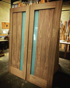 """2 doors 36"""" x 80"""" walnut with a frosted glass exterior front home door for Sale in Los Angeles, CA"""