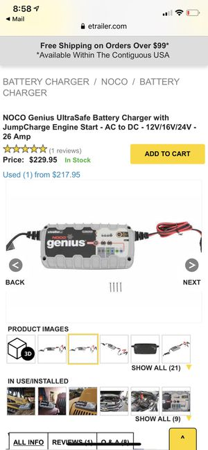 NOCO Genius UltraSafe Battery Charger for Sale in South Amherst, OH