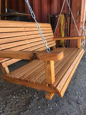 """RED OAK PORCH SWING 50"""" Wide With Chain Natural Oil Finish $320 for Sale in Perris, CA"""