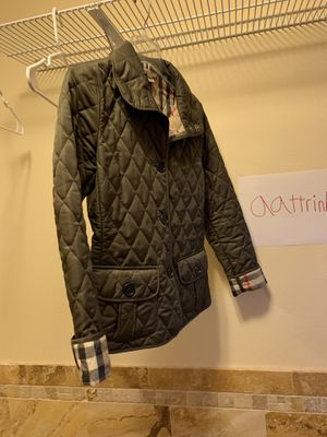 Burberry diamond quilted olive jacket, Burberry plaid inside for Sale in Portland, OR