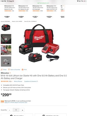 Milwaukee m18 starter kit 9.0&5.0AH for Sale in Kennesaw, GA