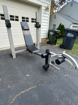Heavy Duty Adjustable Weight Bench/Rack Combo w/ Leg Attachments and EZ Curl Bar for Sale in Fairfax, VA