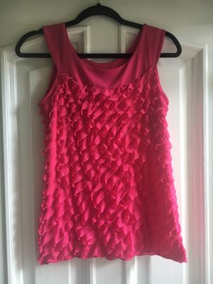 Ladies Hot Pink Sleeveless Ruffly Blouse Size Small for Sale in Puyallup, WA
