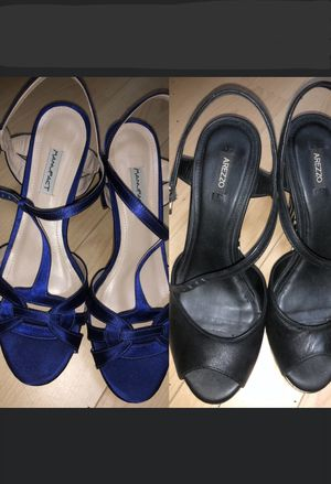 Two Pairs of Brazilian Ankle Strap Open Toe Women Shoes - Size 6.5 for Sale in Boca Raton, FL
