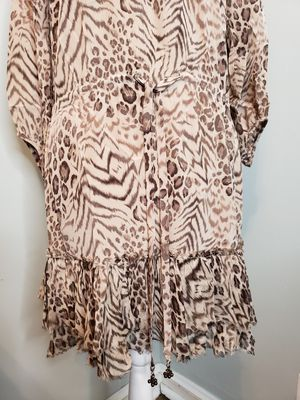 Sophisticated Animal Print Tunic Dress With Ruffles And Tie Waist for Sale in Upper Darby, PA