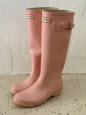 Women's Pink Hunter Rain Boots - Glossy Adjustable Back (Size 6m/7f) for Sale in Fort Myers, FL