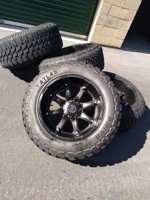 "20"" Black rhino off road rims with mud terrain tires for Sale in Las Vegas, NV"
