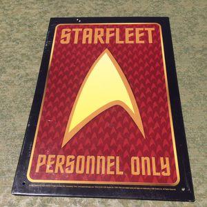 STAR TREK TIN SIGN - STARFLEET PERSONNEL ONLY for Sale in Chula Vista, CA