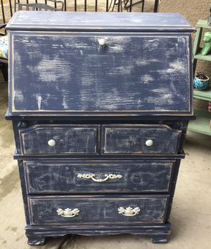 Vintage blue secretary desk with drawers for Sale in Austin, TX