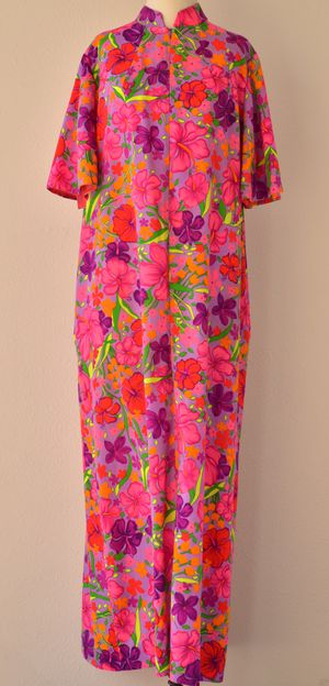60s HAWAIIAN Muumuu Maxi Dress by Ter-Shé Hot Pink Neon Psychedelic Tropical Hibiscus Cotton Baby Doll Luau Tiki Beach Day Dress Nightgown for Sale in San Diego, CA