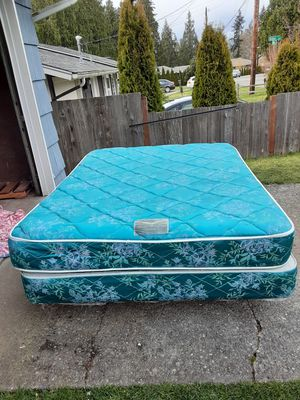 Queen size mattress box spring and bed frame. Delivery is available firm on my price for Sale in Everett, WA