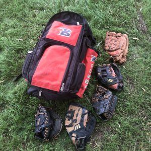 Boombah Backpack Baseball Softball Bat Bag 45 Gloves Red Mizuno Mitt Black Used for Sale in Phoenix, AZ