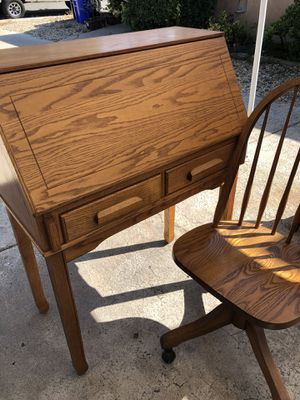 Apartment size antique desk for writing/ computer with chair Sturdy wood for Sale in San Diego, CA