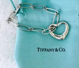 Tiffany Co Sterling Silver Elsa Peretti Open Heart Charm Oval Link Bracelet for Sale in Darien, IL