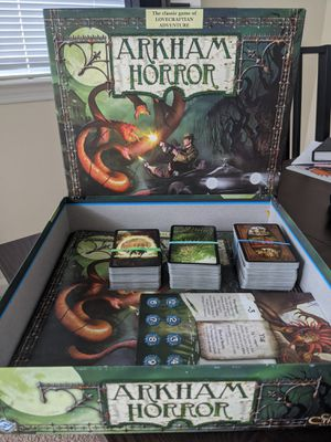 Arkham Horror Second Edition and Black Goat of the Woods Expansion and organizer for Sale in Davenport, FL