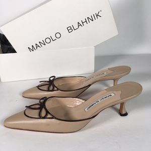 Manolo Blahnik Tan Pointed Leather Heels size 7.5 for Sale in Los Angeles, CA