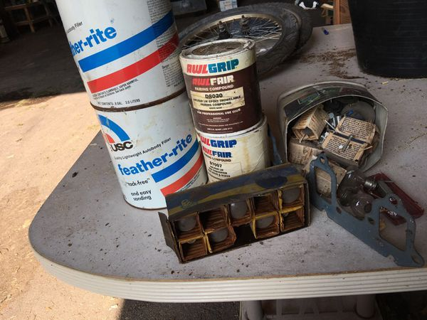 Antique auto parts and body filler take all of it