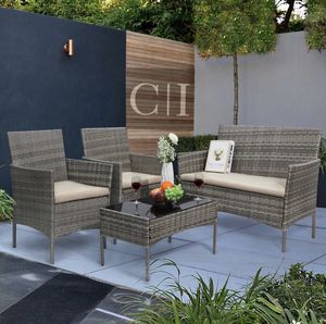 Brand New! 4 Piece Gray Outdoor Balcony Patio Furniture Set for Sale in Orlando, FL