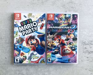 Super Mario Party ($45) and Mario Kart 8 Deluxe ($45) for Nintendo Switch for Sale in Newport Beach, CA