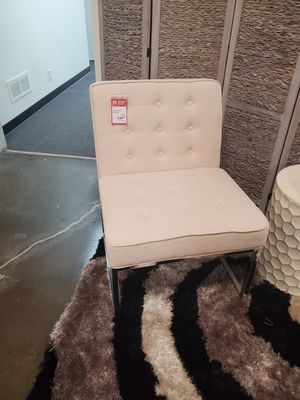 Stylish Chrome Accent Chair, Ivory for Sale in Santa Ana, CA