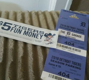This saturday September 8. 4 tigers ticket 200 free parking also 5$ fun ticket and 4 free ride tickets for Sale in Detroit, MI