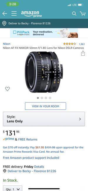 Nikon 50mm f1.8 lens for Sale in Colorado Springs, CO